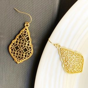 Jewelry - NEW Leaf Filigree Earrings (gold)